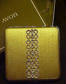 Vintage Avon goldtone compact, in original box