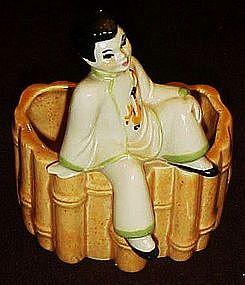 Ceramic arts Studio sitting chinese boy bamboo planter