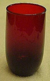 "Anchor Hocking 3 3/8"" Royal Ruby Roly poly juice glass"