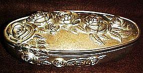 Godinger large velvet lined silver plate box with roses