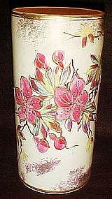Antique Cylinder vase, fuschias or poinsettias