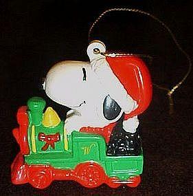 Whitmans Snoopy riding train pvc Christmas ornament