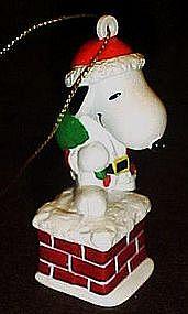 Santa Snoopy on chimney pvc Christmas ornament