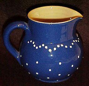 Great potery cream pitcher, cobalt glaze