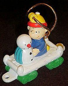 Peanuts Charlie Brown and snowman train figurine