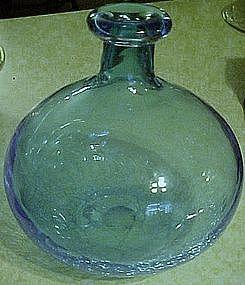 """Hand blown 8 3/4"""" bulbous blue crackle vase"""