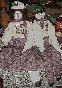 Snowman rag dolls, boy and girl