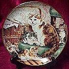 Stitchin' kittens  collector plate, Lesley hammett