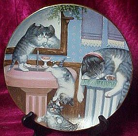 Mischief Makers plate, from Country Kitties series