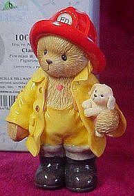 Cherished Teddies Clark the Fireman with puppy figurine