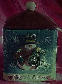 Happy Holidays Snowman cookie jar, freshness seal