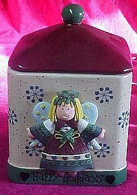 Happy Holidays angel cookie jar, freshness seal