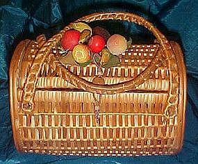 Vintage wicker basket purse with fruit