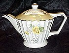Lustreware china teapot with yellow roses