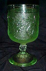 Indiana, tiara chantilly green goblet, sandwich glass