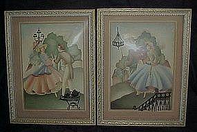 Sandre' lithos, framed pair, silhouette's, convex glass