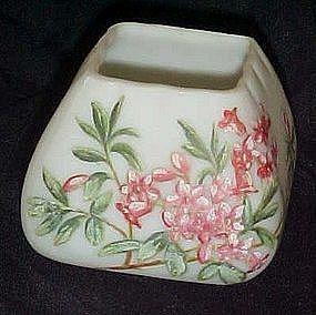 Antique satin custard Veritable Opal Wirths   h/p vase