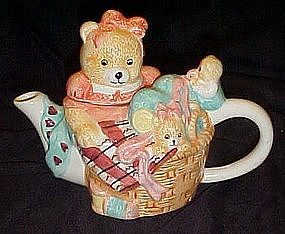 Tee-Nee  Teddy Teapot, Sewing Bee, Hand painted ceramic