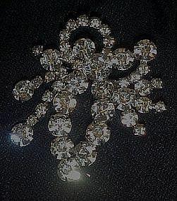 Large vintage rhinestone pin with dangle movement