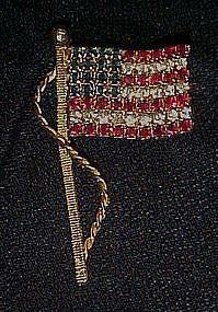 Rhinestone waving flag pin, Old Glory sparkles