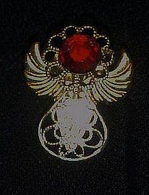 Small goldtone filigree angel pin. Ruby rhinestone