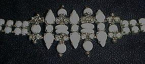 Vintage rhinestone and white glass stone bracelet