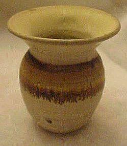 Hand made glazed  pottery vase, wheel thrown