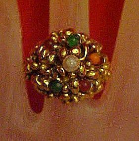 Vintage adjustable ring, antiqued goldtone / stones