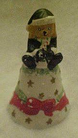 Porcelain Christmas bell, with Santa teddy bear