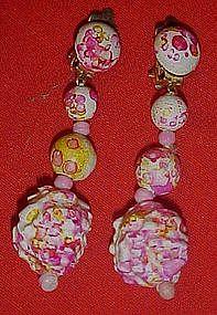 Sixties Mod psychedelic dangle ball  earrings