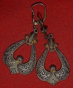 Vintage damascene pierced  earrings