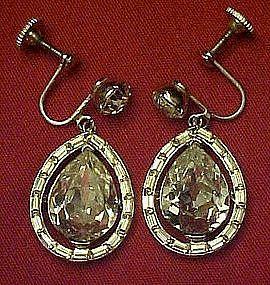 Vintage austrian crystal teardrop dangle earrings,