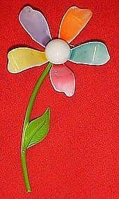 Retro Sixties multi color enamel daisy pin