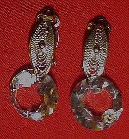 Crystal gold filled earrings, silvertone filigree, clip