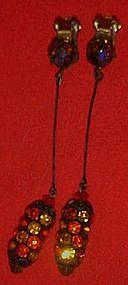 Vintage rhinestone lantern earrings