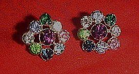 Vintage multi color rhinstone button earrings