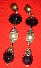 Large black and white dangle earrings, pierced