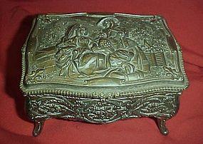 Vintage metal jewel box, velvet lined, ladies scene