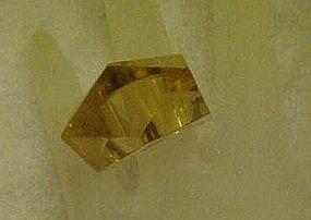 Vintage light amber lucite ring, size 5 1/2