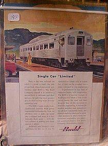 Vintage Budd Railroad train advertisement 1950