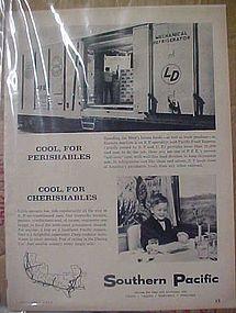 Vintage Southern Pacific Railroad train advertisement