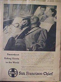 Vintage 1956 Santa Fe Railroad train add