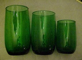 """Anchor Hocking forest green roly poly tumbler 4 3/8"""""""