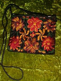 Ladies velvet purse with machine embroidery flowers