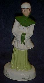 "Vintage tall  ceramic Asian man figurine 11 3/8"""