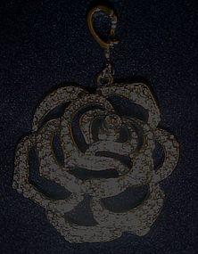 Large Nolan Miller rhinestone rose charm pendant