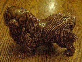Vintage chocolate glazed pottery Pekingese figurine