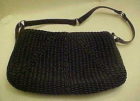 Liz Claiborne designer woven black purse leather handle