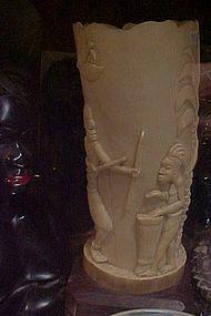Vintage ethnic Belgian Congo carved Ivory tusk lamp
