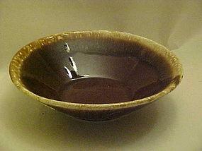 "Large brown mirror drip serving bowl 8 3/4"""